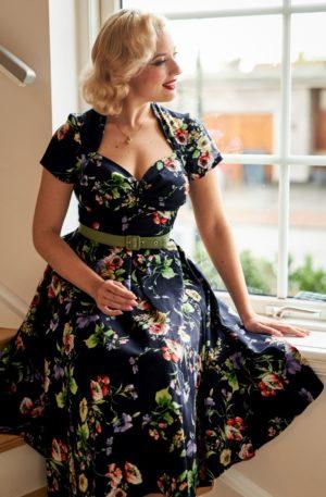 50s Finella Lee Swing Dress in Midnight