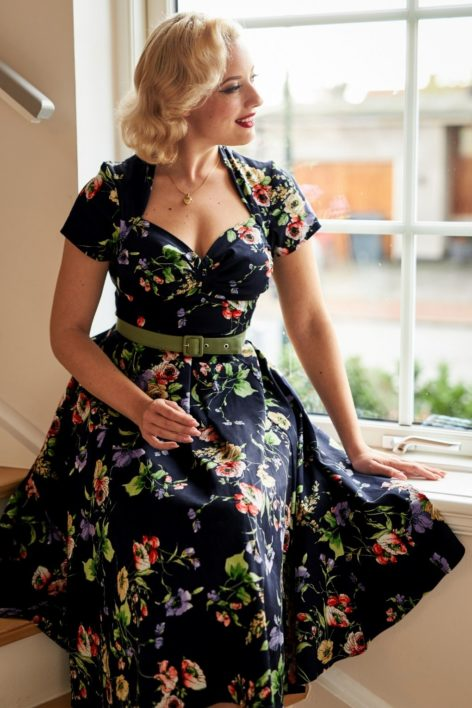50s Finella Lee Swing Dress in Midnight
