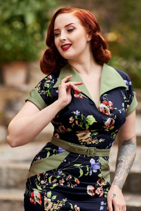 50s Fiora Lee Pencil Dress in Midnight
