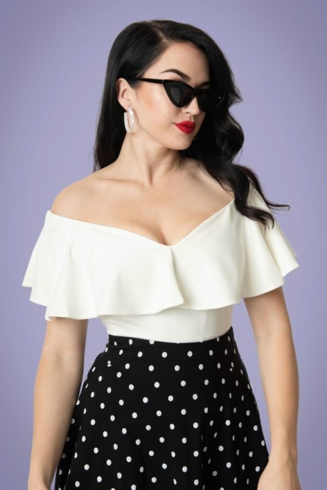 50s Frenchie Off Shoulder Ruffle Top in Ivory