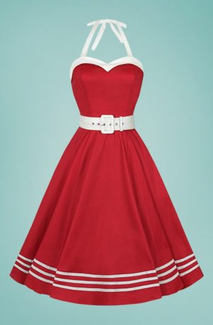 50s Georgie Nautical Halter Swing Dress in Red