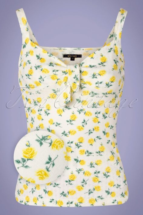 50s Gisele Monet Top in Mimosa Yellow