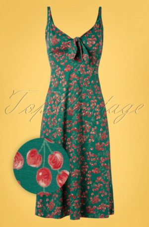 50s Gisele Touche Dress in Para Green