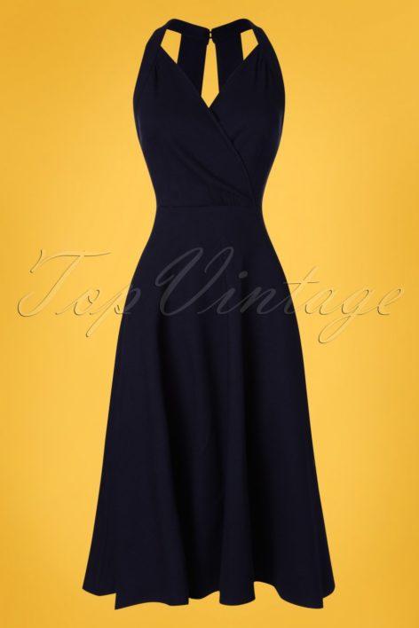 50s Hadley Plain Swing Dress in Navy