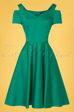 50s Helen Swing Dress in Sea Green