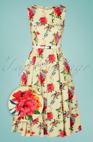 50s Hepburn Blossoming Poppy Swing Dress in Cream
