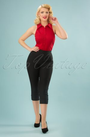 50s Holly Capri Pants in Black