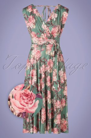50s Jane Floral Swing Dress in Sage Green