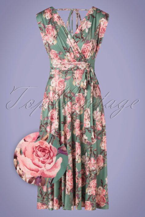 50s Jane Floral Swing Dress in Sage Green