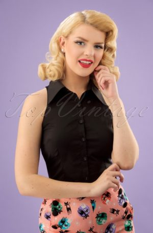 50s Jasmine Sleeveless Blouse in Black