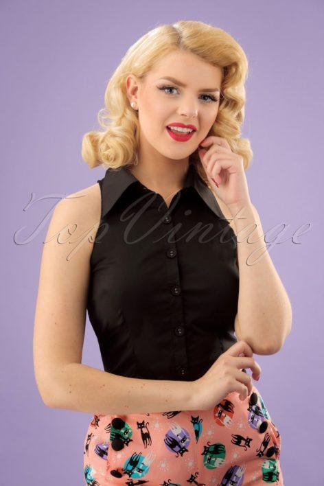 50s Jasmine Sleeveless Blouse in Black