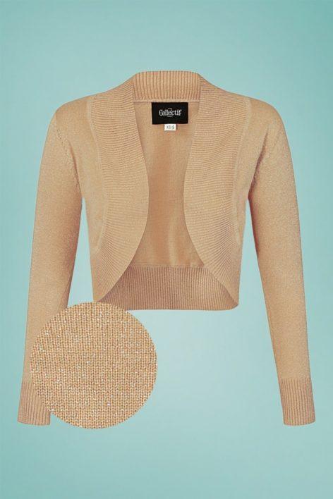50s Jean Lurex Knitted Bolero in Champagne