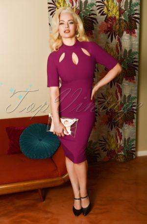 50s Joy Pencil Dress in Fuchsia Purple