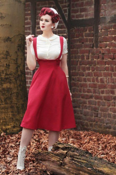 50s Jumper Swing Skirt in Red