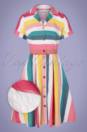 50s Kate Rainbow Stripe Shirt Dress in Multi