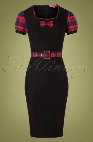 50s Kick It Plaid Dress in Black