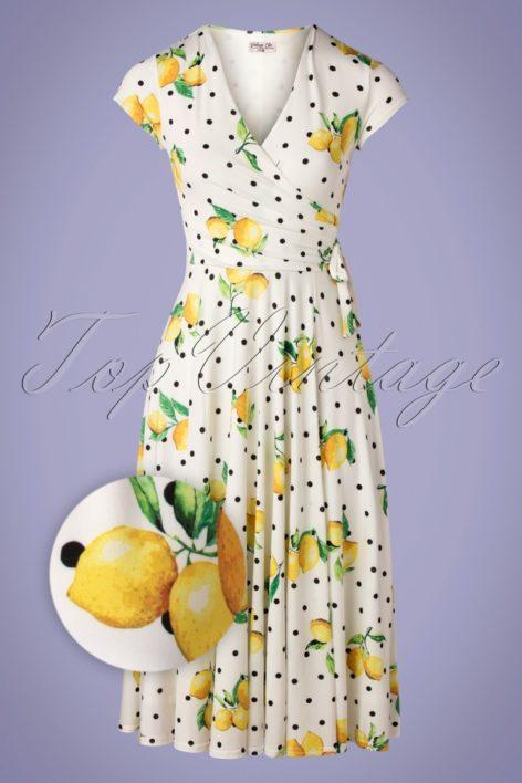 50s Layla Lemon Cross Over Dress in White