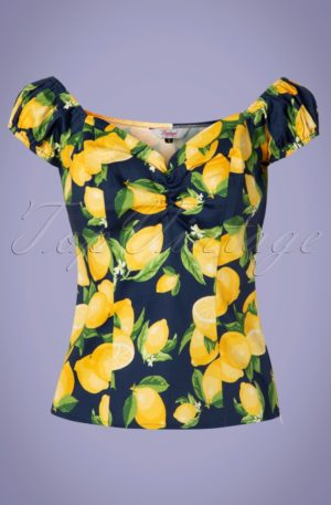 50s Lemon Off Shoulder Top in Navy