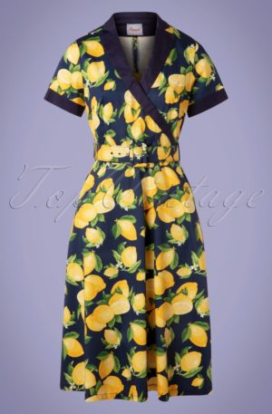 50s Lenny Lemon Swing Dress in Navy