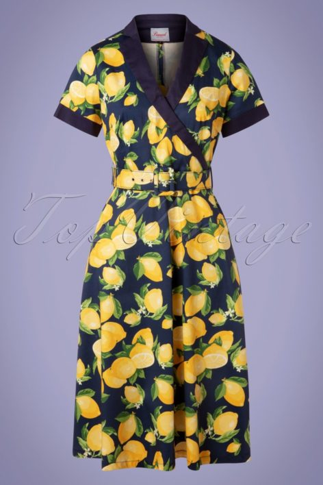 50s Lenny Lemon Swing Dress in Navy