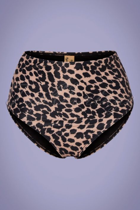 50s Leopard High Waist Bikini Brief in Brown and Black