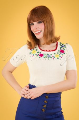 50s Lexi Grappa Top in Cream