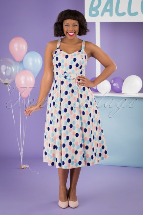 50s Lillian Balloons Swing Dress in Cream