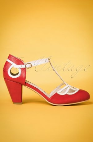 50s Lively Aimee T-Strap Pumps in Red