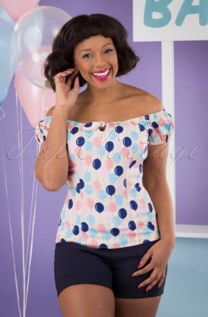 50s Lorena Balloons Top in Cream