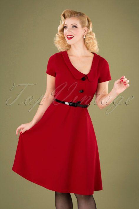 50s Lynne Swing Dress in Dark Red