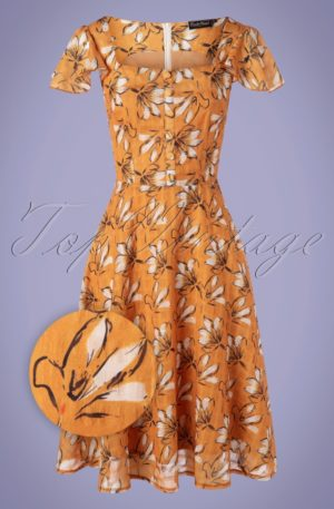 50s Margot Floral Swing Dress in Mustard