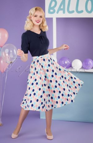 50s Matilde Balloons Swing Skirt in Cream