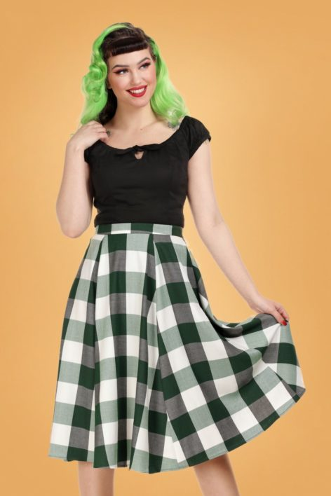 50s Matilde Check Swing Skirt in Meadow Green