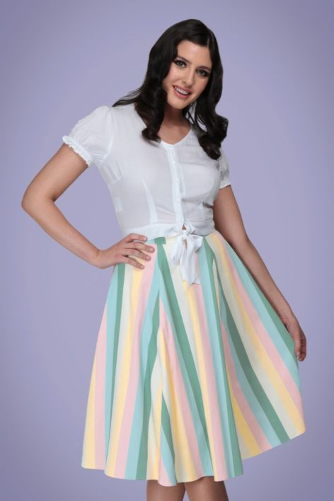 50s Matilde Teacup Stripes Swing Skirt in Multi