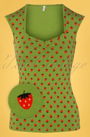 50s Merci Cherie Top in Strawberry Soucre Green