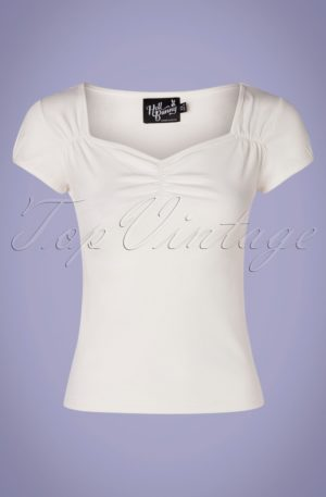 50s Mia Top in Ivory White