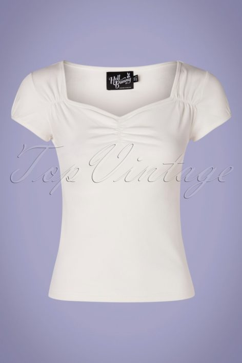 50s Mia Top in Ivory White