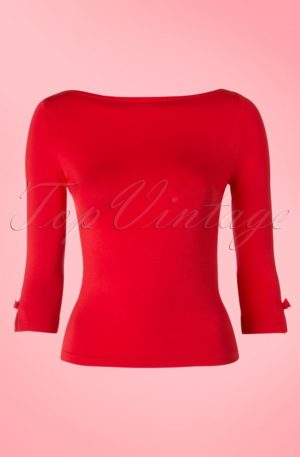 50s Modern Love Top in Red