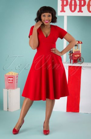 50s Norah Swing Dress in Lipstick Red