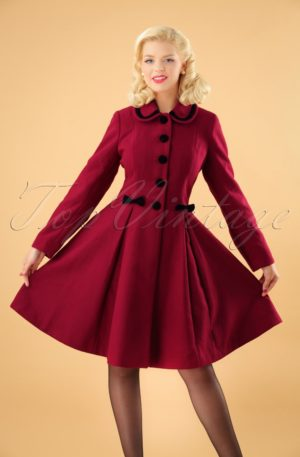 50s Olivia Bow Coat in Dark Red