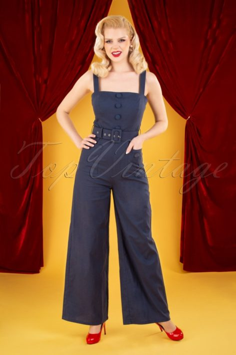 50s Olympia Jumpsuit in Navy