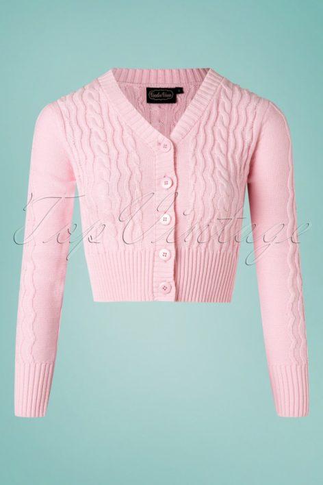 50s Penelope Fishermans Knit Crop Cardigan in Pink