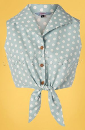 50s Polka Love Tie Top in Dusky Blue