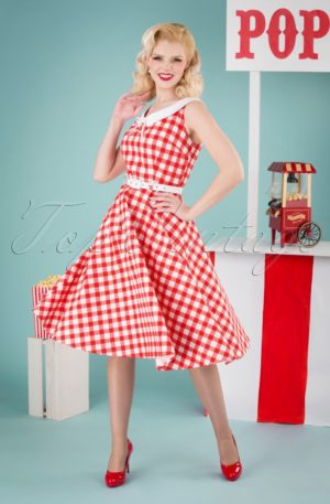 50s Poppy Vintage Gingham Swing Dress in Red