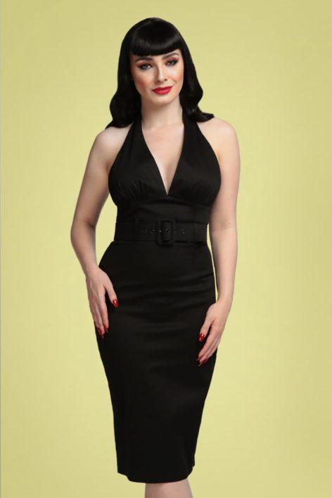 50s Ramona Halter Pencil Dress in Black