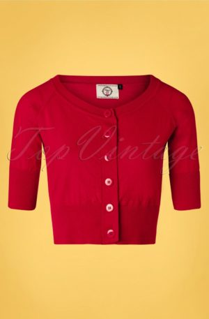 50s Raven Cardigan in Lipstick Red