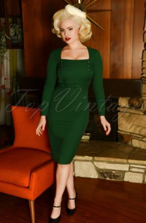 50s Raven Pencil Dress in Forest Green