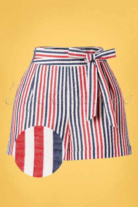 50s Roisin Bellaria Stripes Shorts in Gardenia White