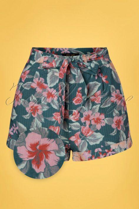 50s Roisin St Kitt Shorts in Harbor Blue