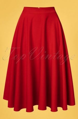 50s Rosie Flared Midi Skirt in Red